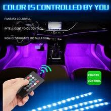 7 farbe/Musik steuerung Auto RGB 9LED Streifen Fuß Licht mit usb Innen Atmosphäre lampe Mit Fernbedienung auto innen dekoration