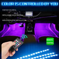 7color/Music control Auto RGB 9LED Strip Foot Light with usb Inside Atmosphere lamp With Remote Control car interior decoration
