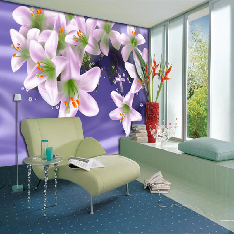 Free Shipping 3D Purple flowers wallpaper living room sofa TV backdrop bedroom coffee house restaurant wallpaper mural  free shipping purple nebula wallpaper children s room living room tv sofa bedroom ceiling decoration star globe wallpaper mural