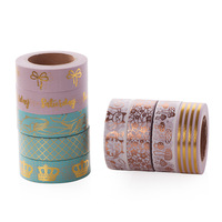9pcs Lot Sale Gold Foil Crown Washi Tape Set Attractive Pda Homemade Stickers Decoration Tape Make