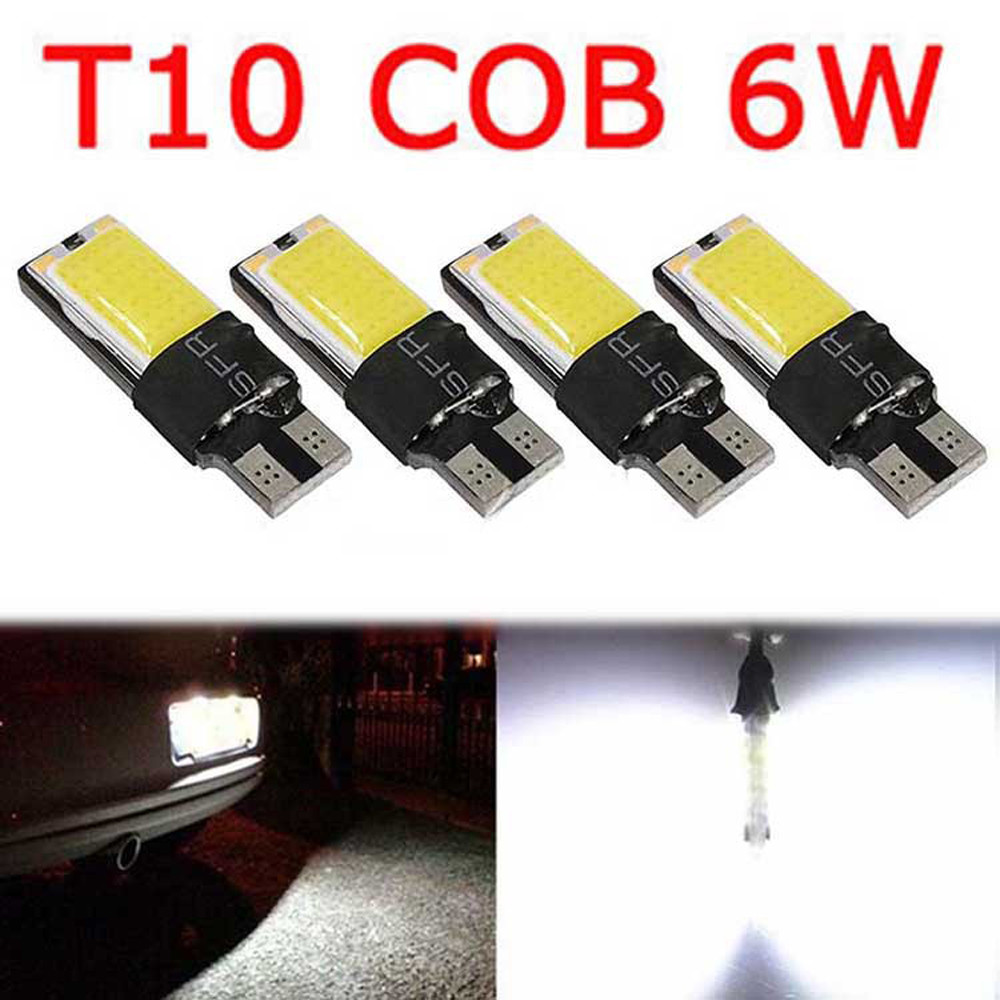 Car 4PCS T10 COB 6W W5W 194 168 LED Canbus Error Free Side Wedge Light Bulb Auto License Plate White Lamp 12V 2x warm white 2700 3200k t10 w5w 168 194 5050 100lm led 4 smd canbus error free car wedge light bulb auto interior lights 12v
