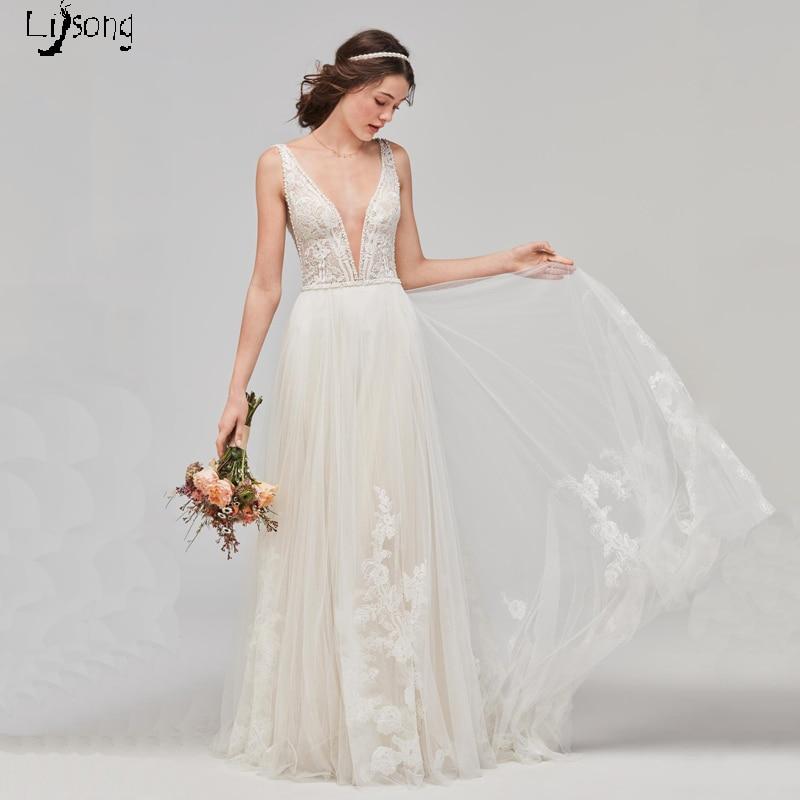 Vintage Chic Wedding Dresses: Simple Light Beige Lace Soft Tulle A Line Long Wedding