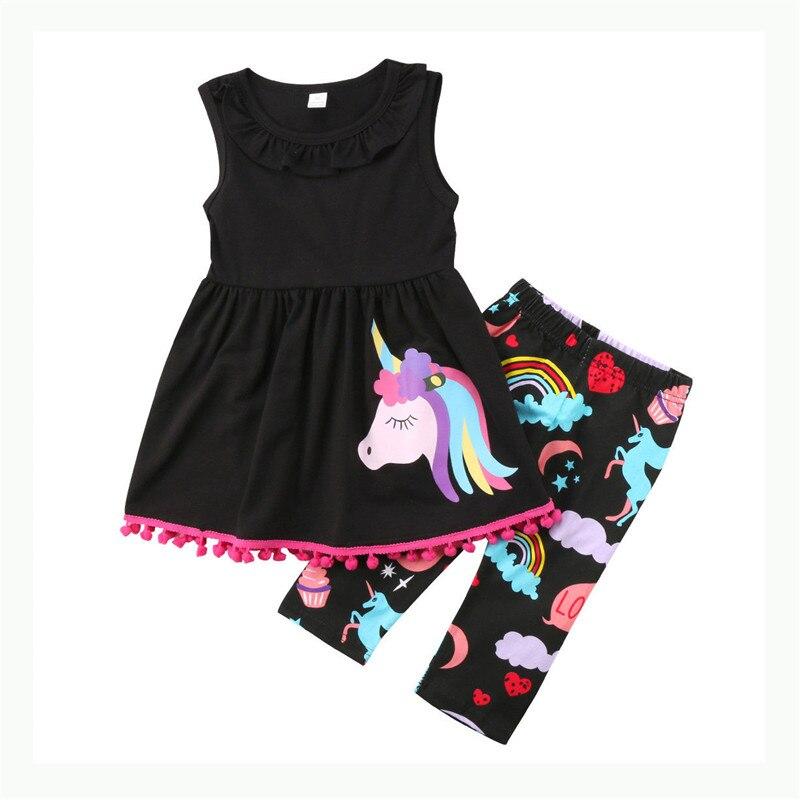 Fashion Children Clothing Baby Girl Unicorn Horse Printed Tops Sleeveless Tassel Ball Mini Dress+3/4 Pants Baby Girl Clothes Set
