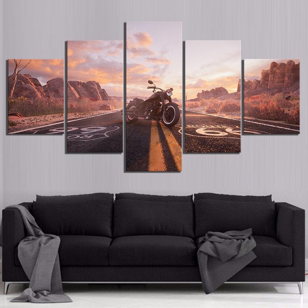 Affiches modulaires HD 5 panneaux Printes numéros de Route Route 66 moto véhicule 5 panneaux mur Art toile photos peinture décor à la maison