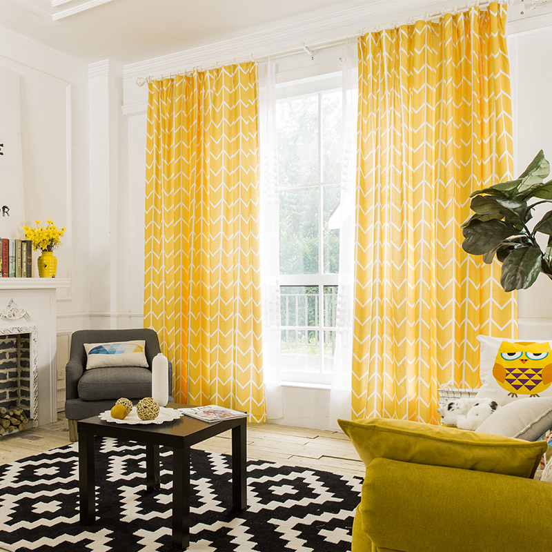 US $29.64 43% OFF|RZCortinas Geometic Bright Yellow Curtain with Stripes  for Living Room Cotton Linen Modern Curtains for Bedroom Window  treatment-in ...