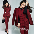Le Palais Vintage 2017 Spring New Elegant Temperament Red Wine Striped Slim Suit Vest Jjacket Long Pant Three Piece Women's Sets
