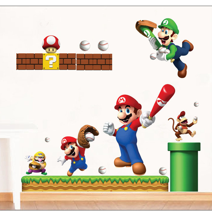 Online buy wholesale mario wall mural from china mario wall mural wholesalers - Mario wall clings ...