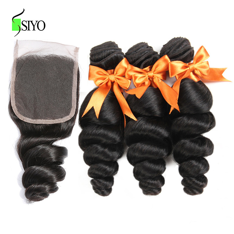 SIYO Hair Loose Wave 4 PCS Human Hair Bundles & Lace Closure 3 Bundles Non Remy Brazilian Loose Wave Bundles With Closure
