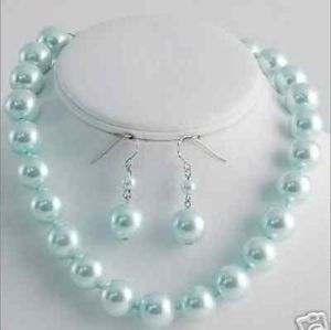 Free shipping   10mm azury sea shell pearl necklace&earrings18""
