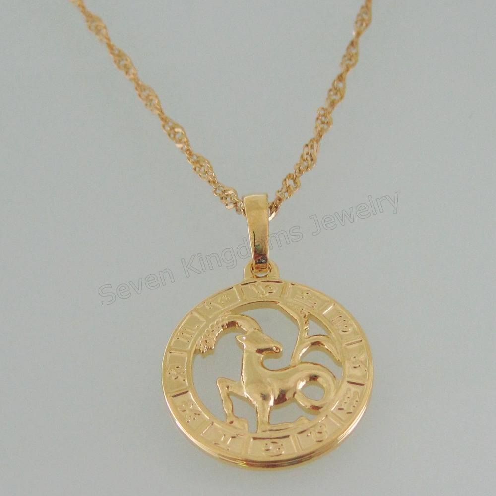 Min order 10 can mix design 24k yellow gold gp 18 necklace min order 10 can mix design 24k yellow gold gp 18 necklace vivid 12 constellations capricorn pendant hangs 114inch in pendants from jewelry aloadofball Choice Image