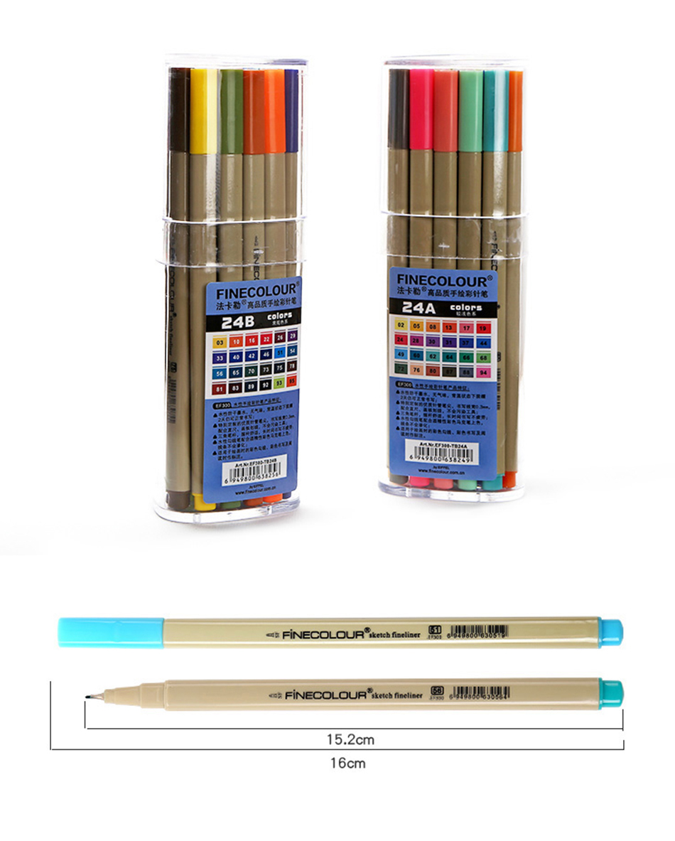 48 Color Finecolour 24PcsA/B Colorful Micro Line Posca Sharpie Pigment Paint Marker Pen For Drawing|Marker Pens|Education & Office Supplies -
