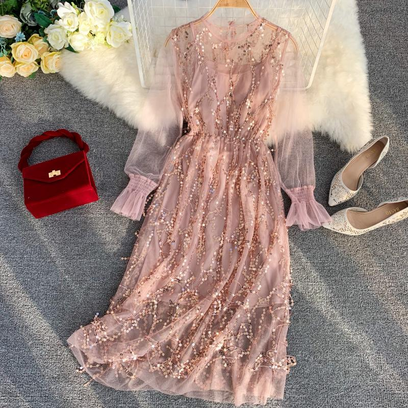 HISUMA 2019 spring new women O neck sequined long sleeve mesh dress female high waist elegant bling two piece set A line dresses