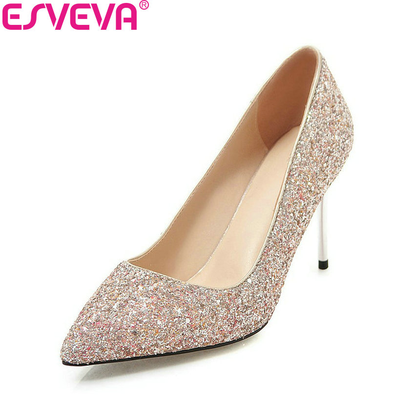 ESVEVA 2018 Women Pumps Sexy Sequins Bling Bling Party Shoes Slip on Thin High Heels Pointed Toe Elegant Women Shoes Size 34-43 size 32 43 women s high heel shoes women slip on pointed toe pumps elegant thin heels ladies sexy party weddding soft shoes