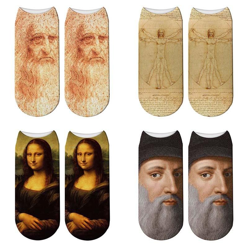 New 3D Retro Painting Art Da Vinci Socks Women Funny Monalisa Short Socks Oil Painting Vitruvian Man Short Socks