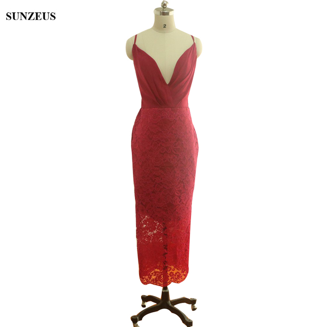 67b1ec8a33a Wine Red Lace Bridesmaid Dresses 2018 Real Custom-made Sheath Wedding Party  Gowns V-neck Spaghetti Straps Women Dress BDS034