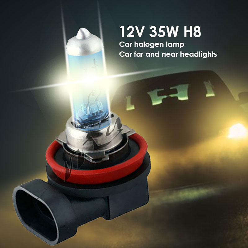 Vehemo 1PCS 12V 35W <font><b>H8</b></font> <font><b>White</b></font> Auto Car Light Headlight Car Head Lamp Fog Lights for Safety Car Accessories Replacement image