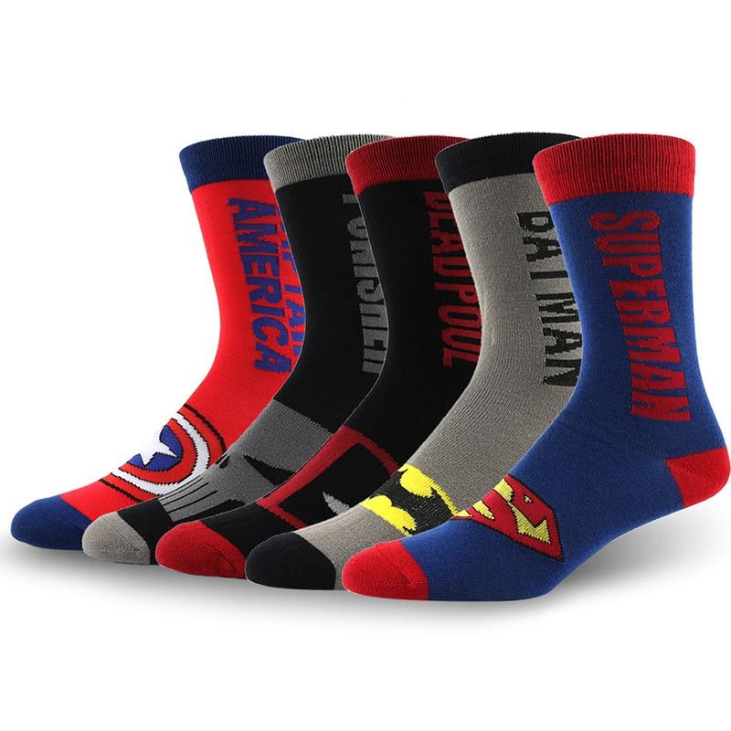 Fashion Men Cotton Colorful Socks Happy Cartoon Superhero Socks Letter Avengers Batman Marvel Comics Marvel Unisex Socks