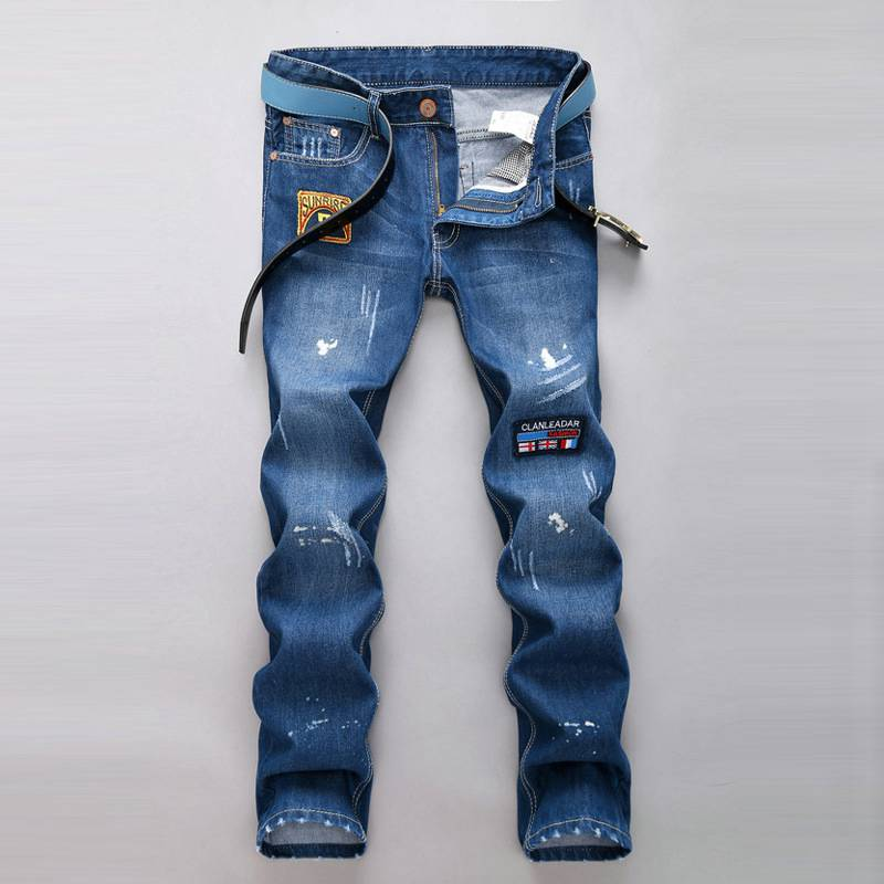 #1519 Casual men skinny jeans Fashion Slim fit Pantalon homme Bikers Patches Mens distressed jeans Male ripped jeans Destroyed
