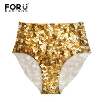 FORUDESIGNS Ultra Thin Seamless Women Panties Breathable Sexy Bling Sequins Print Underwear For Female High Waist