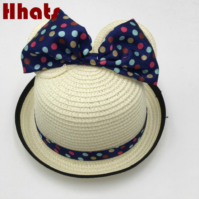 which in shower round boy girl sun cap children plain bow tie cartoon summer  beach hat panama kids cute cat ear straw hat panama 83658b27673