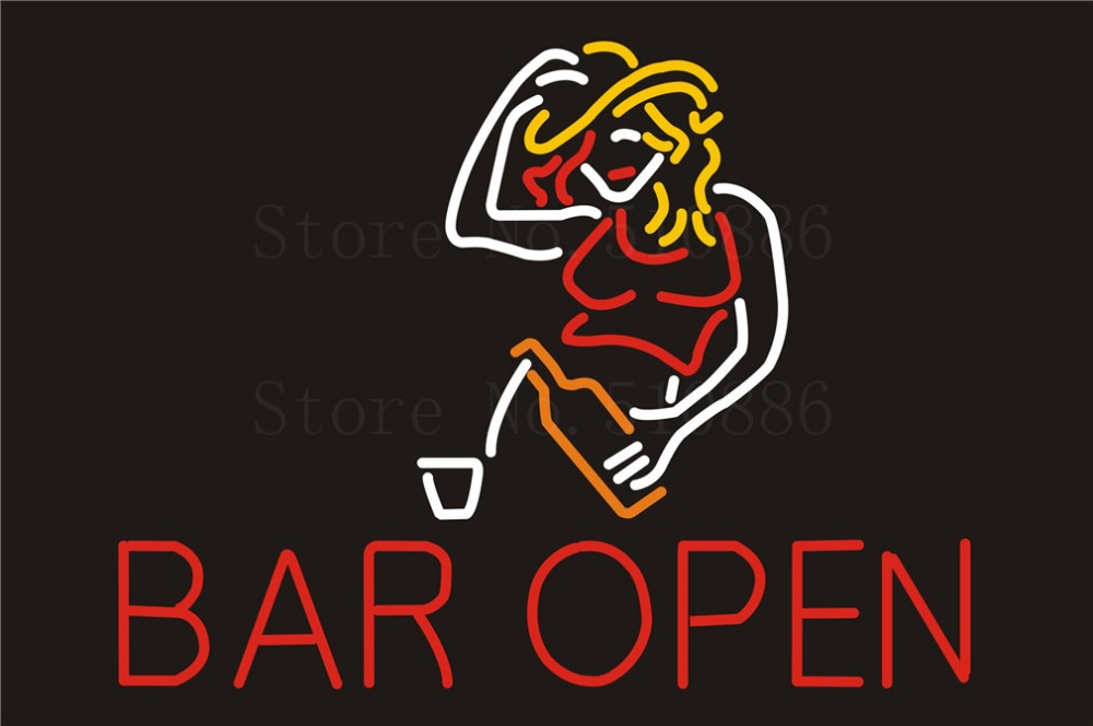NEON SIGN For Bar Open Cave Sex Girls Wine Real GLASS Tube Beer PUB Restaurant Signboard store display Shop Light Signs 17*14  цены