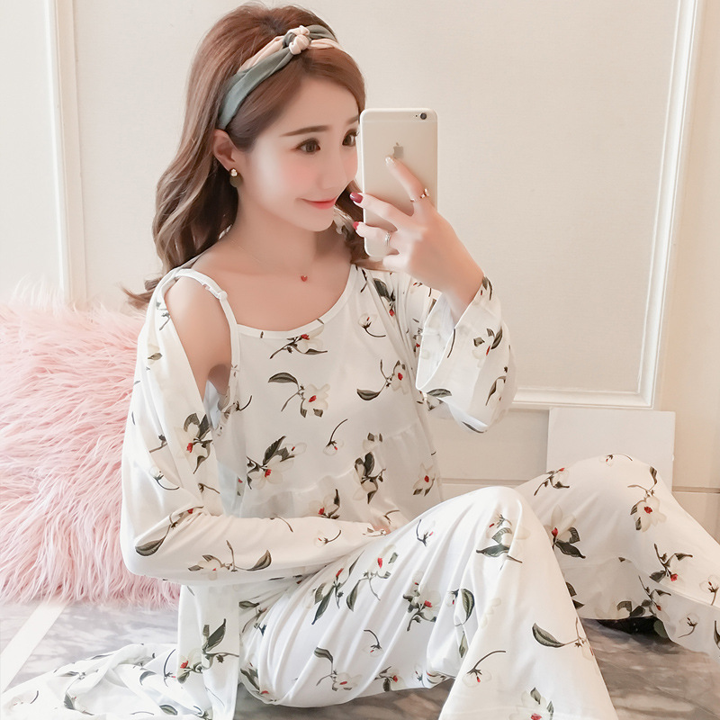 New Korean Version Of Japanese Fresh Peacock Flower Three-piece Comfortable Sling Pajamas Women