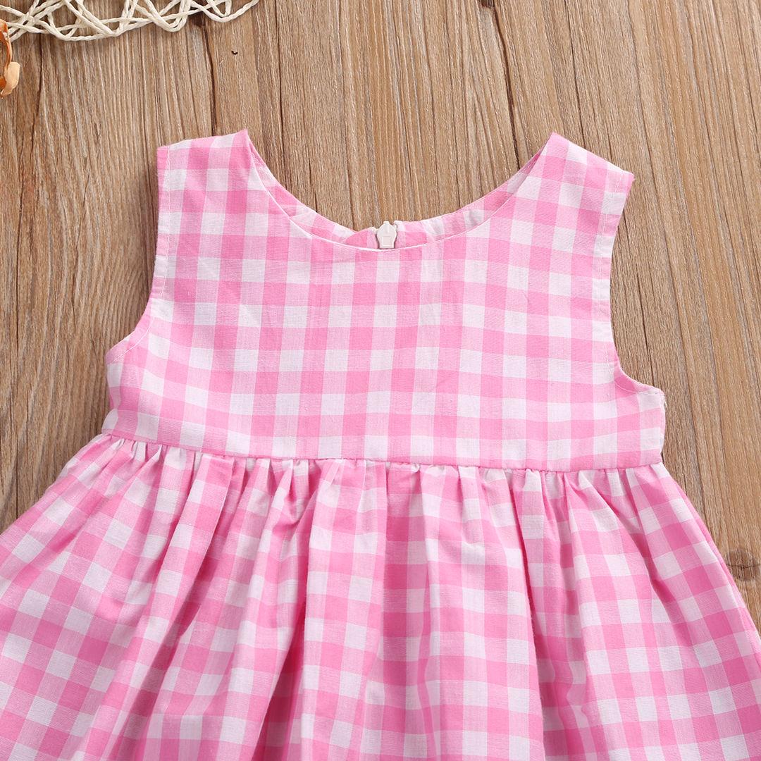 26c36b9db60e3 Newborn Baby Kids Girls Dresses Casual Sleeveless Plaid Mini Cute Pink  Dress Baby Girl 0-24M
