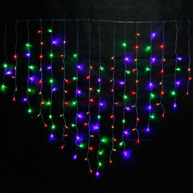 YIMIA 2x1.6m LED Holiday Christmas Curtain Lights Heart Dripping Icicle  Lights 128 LED String - YIMIA 2x1.6m LED Holiday Christmas Curtain Lights Heart Dripping