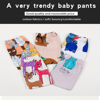 TinyPeople 2019 infant ins Cartoon print cotton Spring autumn Baby Pants Baby Girl leggings toddler boy newborn cute trousers 1