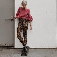2018 Autumn Women Pants Retro Leopard Jeans Slim Elastic High Waist Pants Casual Pencil Long Trousers Streetwear Fashion Jeans