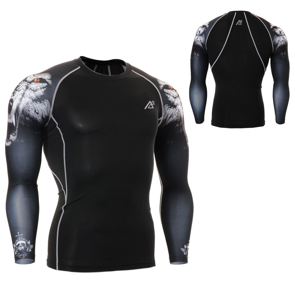 Life On Track Mens Fitness Tees Compression Skin Tights Long Sleeve Breathable Quick Dry Outdoor Bodybuilding Tops Running