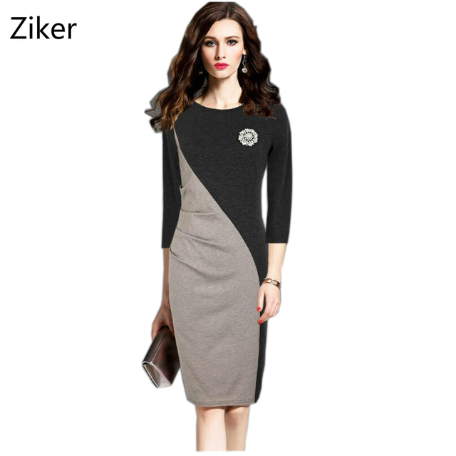75c746accc Más tamaño s-4xl otoño mujeres lápiz Vestidos o-cuello de tres cuartos de