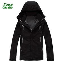 CavalryWolf Men 2 in 1 winter outdoor waterproof softshell jacket men two pieces Removable Skiing camping Trekking jackets