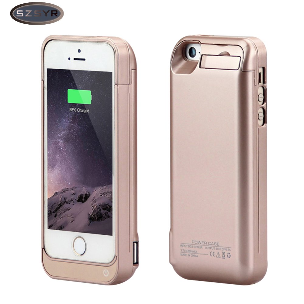 Carregador de bateria 4200 mah bateria externa carregador de backup caso power bank carregador caso para iphone 5/5S/5c se freeshipping-ouro