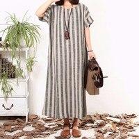 Women Striped Dress 2016 Summer Vintage Maxi Long Dress Ladies Casual Loose Short Sleeve Dresses Plus