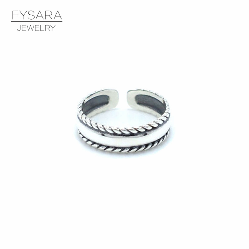 FYSARA Rock Jewelry Opening Size 925 Sterling Silver Ring For Women Men Do Old Design Black Cable Twist Midi Ring Wedding Gifts image