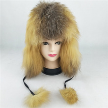 69550 New Fashion Russian hat Natural Fox Fur Hats Men and W