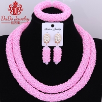 Opaque Chunky Party Bridal Jewelry Necklace Sets Dubai Costume Choker African Nigerian Wedding Jewerly Set of Crystal beads Set