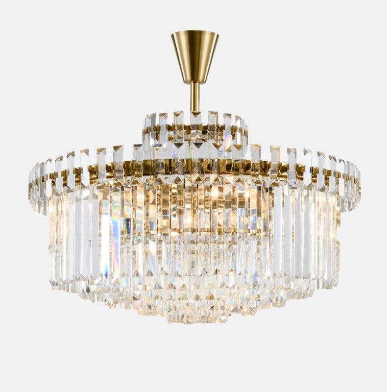 Lustre en cristal Postmodern Villa plafonnier lampe de salon lampe de salle à manger ronde E14 ampoule LED