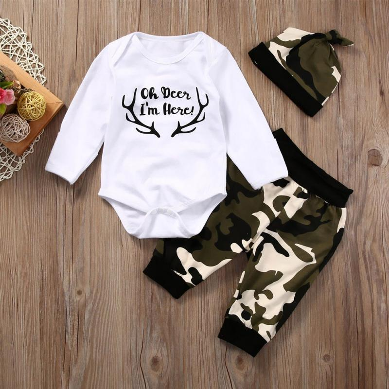 Newborn Baby Boys Girls Tops Romper Pants Hat 3PCS Outfits Set Camo Clothes Set 7M In Clothing