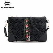 Womanweisi marca 2017 nuevo diseño ahueca hacia fuera la flor mujeres mini bolso de embrague encantador pequeño bolso mensajero de las mujeres bolsos de hombro de la vendimia