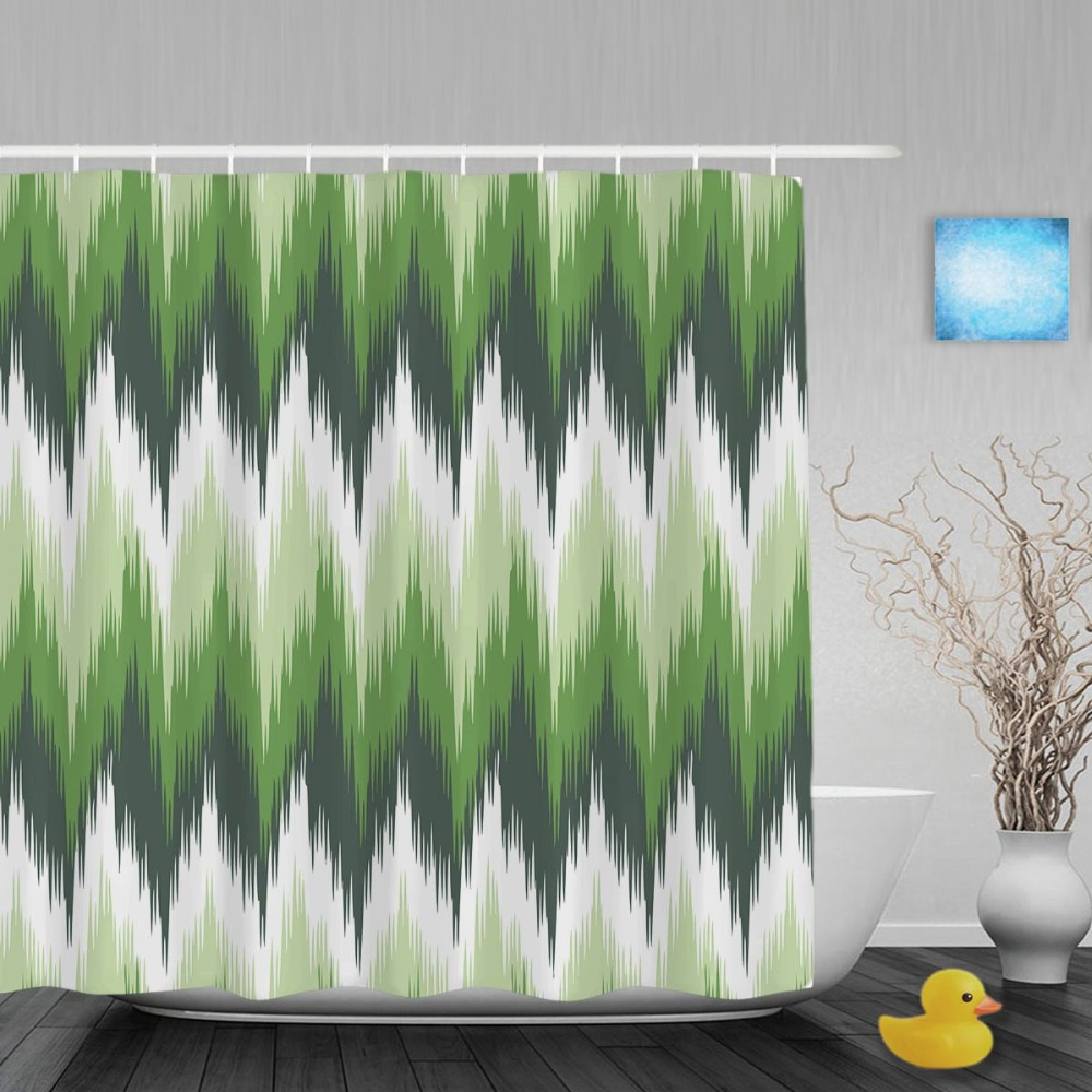 Naadloze Badkamer Polyester Us 15 17 Abstract Groen Zigzag Badkamer Douchegordijn Ikat Naadloze Patroon Decor Douchegordijnen Waterdicht Polyester Met Haken In Abstract Groen