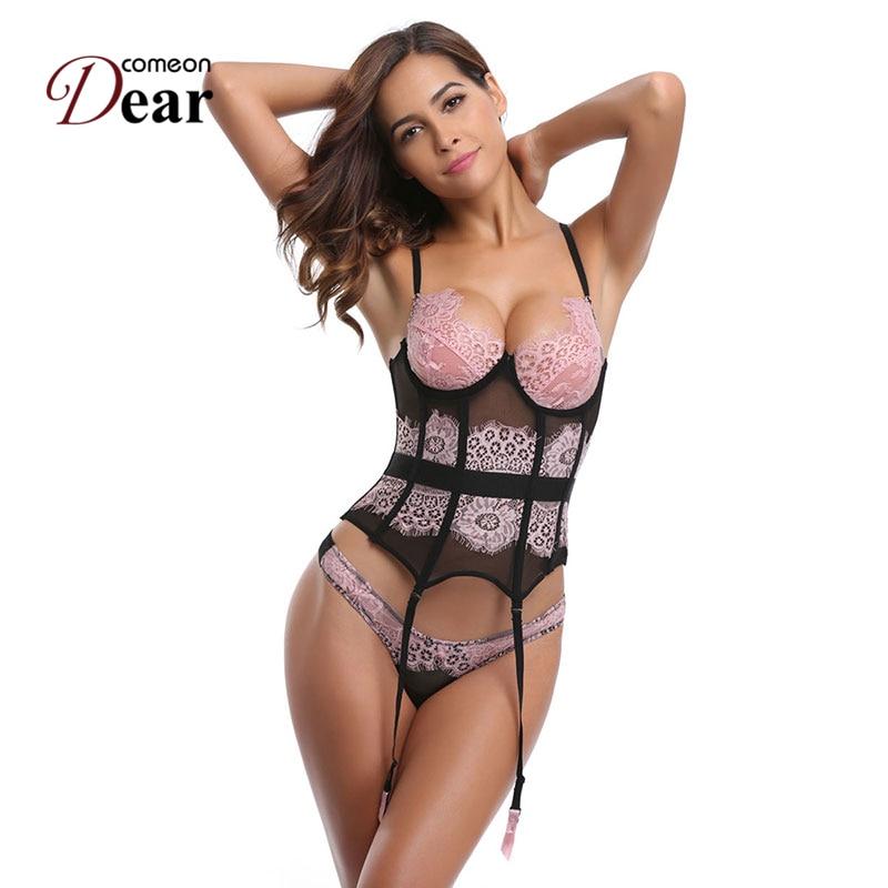 Comeondear corsé Bustier Corselete femenino Espartilhos Cinta Modeladora AB2247 Sexy de encaje de color rosa S-2XL corsé cintura Cincher