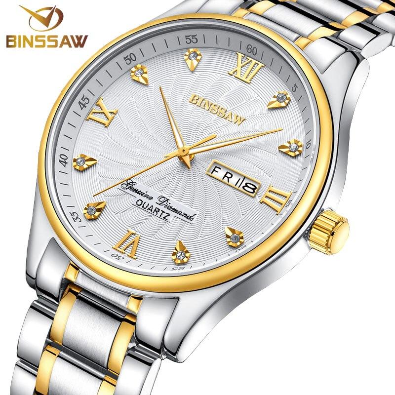 BINSSAW classic business men quartz stainless steel fashion leisure original luxury brand week calendar watch gift relogio mascu