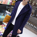2016 Autumn new fashion men coat of medium length pull homme men's solid thin cardigan long cardigan coat male plus size 4xl
