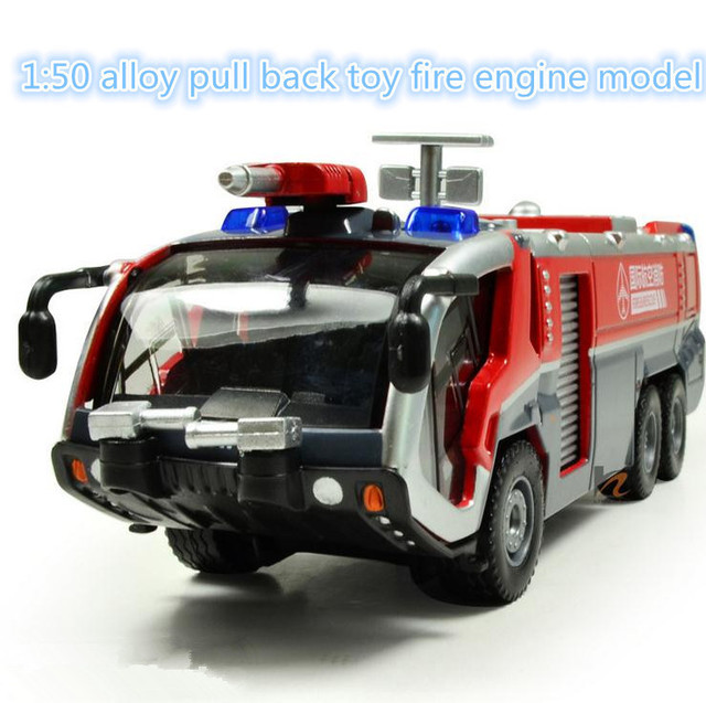 Hot sale car toy model ! 1:50 alloy pull back Sound and light toy fire engine model, Free shipping, Baby educational toys