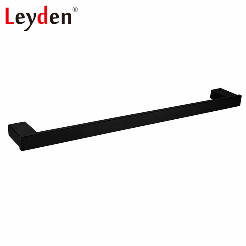 Leyden Black Towel Rail Stainless Steel Towel Holder Wall Mounted Bath Towel Hanger Square Single Towel Bar Bathroom Accessories sus304 stainless steel mirror 60cm single towel bar towel rail holder stainless steel construction sm020 water sa