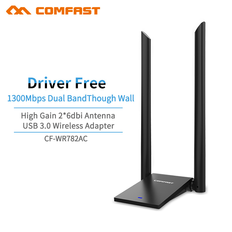 High Power GigabitDual Band 5.8GHz 802.11AC 1300Mbps Wireless Wifi Adapter USB 3.0 5Ghz Wireless Network Card 2*6dbi Antenna AP