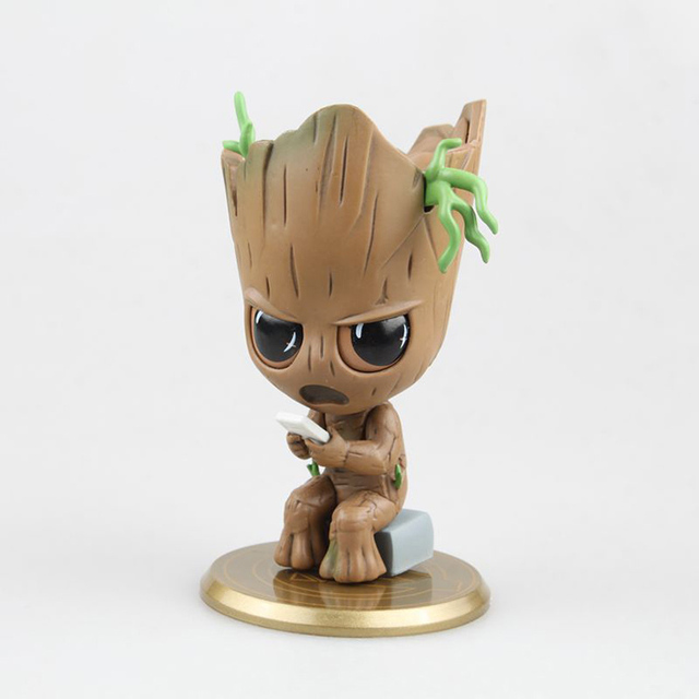 9cm Avengers Infinity War GROOT Action Figure SITTING PLAYING GAME PVC figure Toys Brinquedos Anime