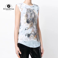 Sleeveless Top Women Summer T Shirt Female Tees 2018 Horse Printed Camisole Blusas Femininas